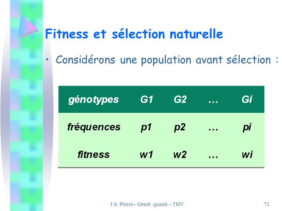 J.S. Pierre - Génét. quanti. - THV71 Fitness et sélection naturelle Considérons une population avant sélection :