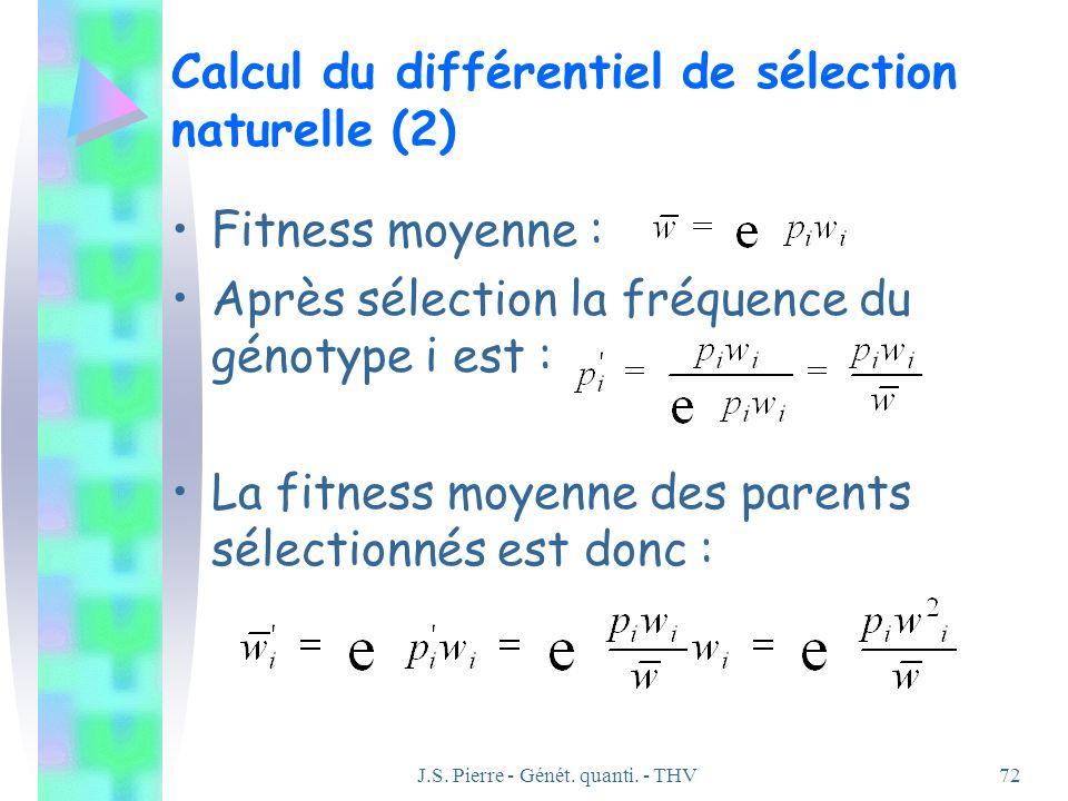 J.S. Pierre - Génét. quanti. - THV72 Calcul du différentiel de sélection naturelle (2) Fitness moyenne : Après sélection la fréquence du génotype i es