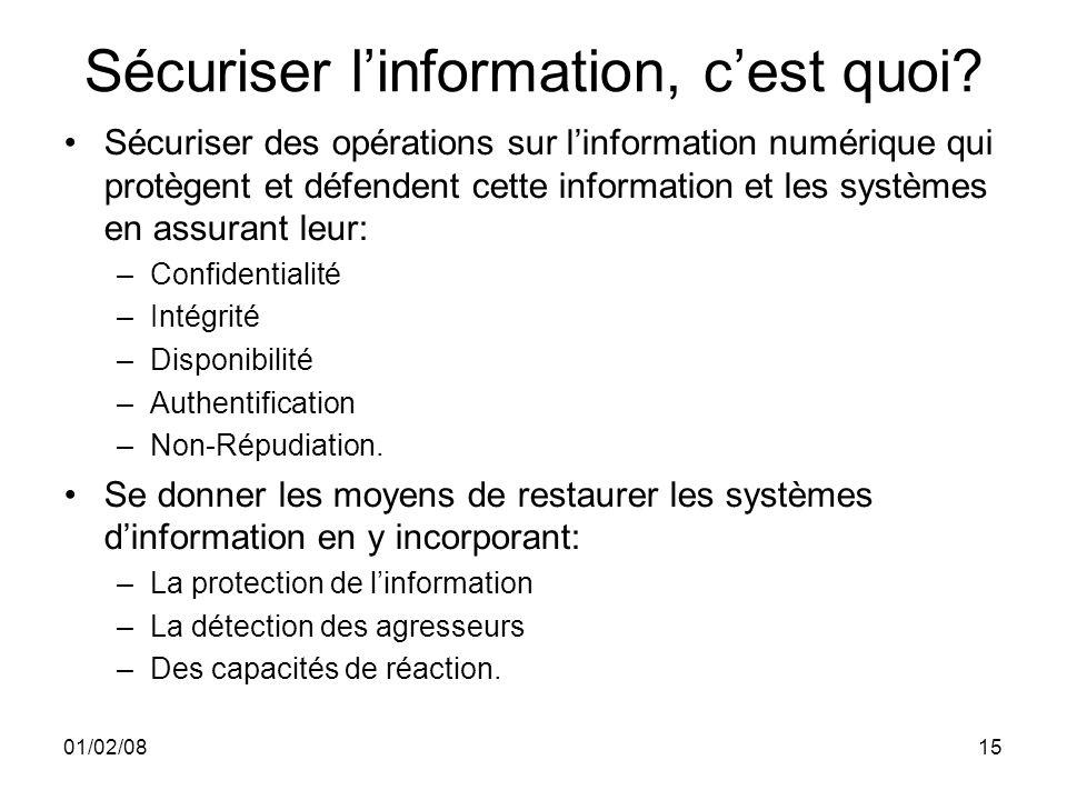01/02/0815 Sécuriser linformation, cest quoi.