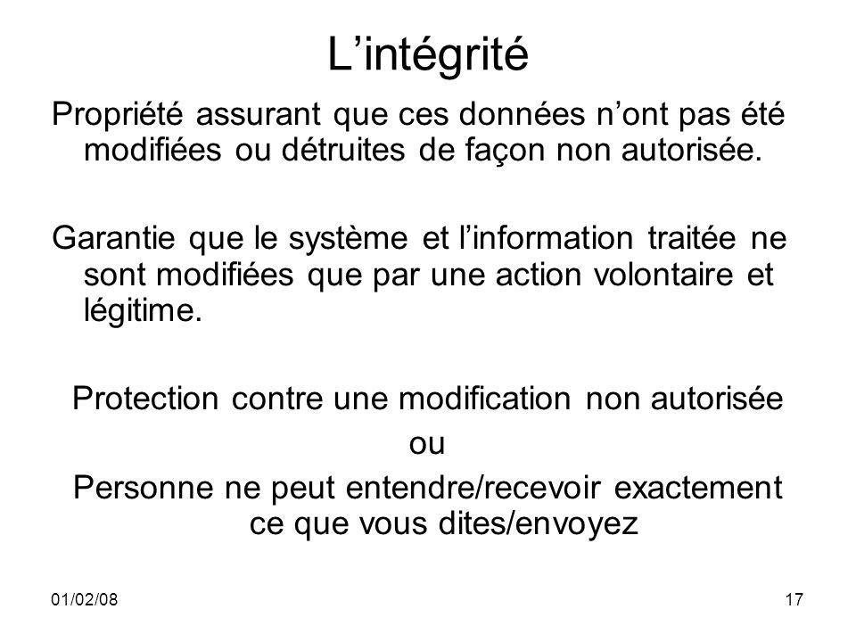 01/02/0817 Lintégrité Propriété assurant que ces données nont pas été modifiées ou détruites de façon non autorisée.
