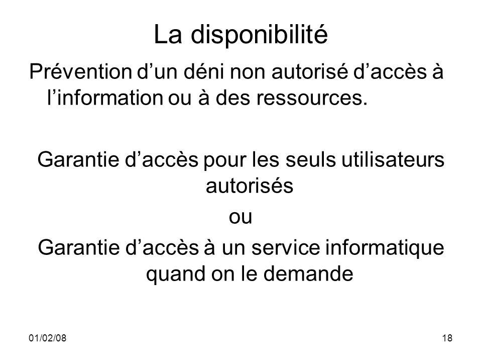 01/02/0818 La disponibilité Prévention dun déni non autorisé daccès à linformation ou à des ressources.