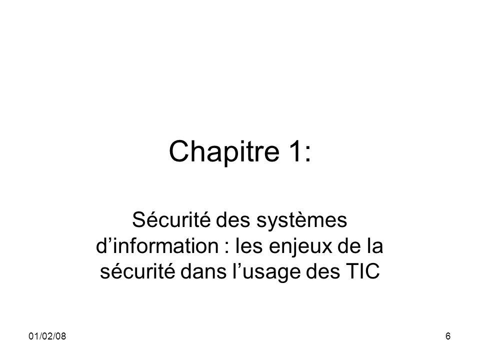 01/02/086 Chapitre 1: Sécurité des systèmes dinformation : les enjeux de la sécurité dans lusage des TIC