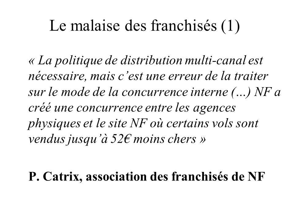 Le malaise des franchisés (1) « La politique de distribution multi-canal est nécessaire, mais cest une erreur de la traiter sur le mode de la concurre