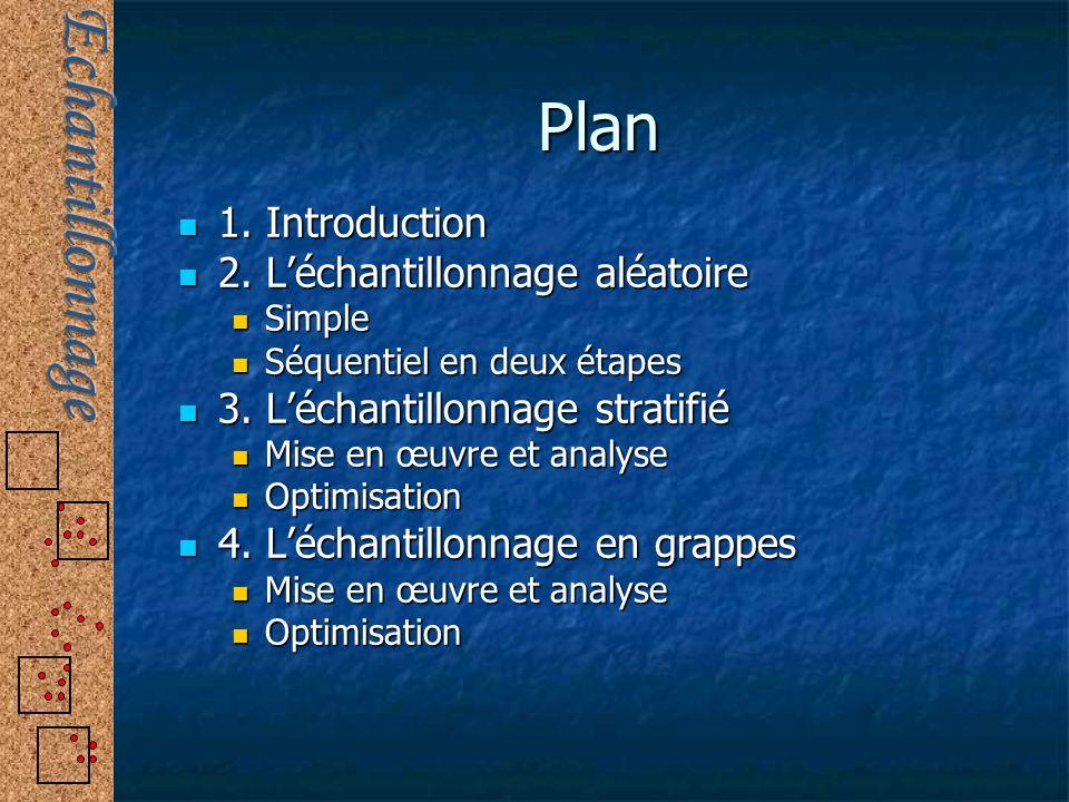 Plan 1. Introduction 1. Introduction 2. Léchantillonnage aléatoire 2. Léchantillonnage aléatoire Simple Simple Séquentiel en deux étapes Séquentiel en