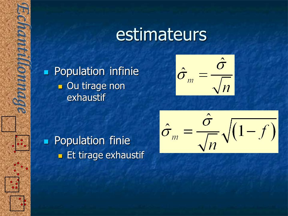 estimateurs Population infinie Population infinie Ou tirage non exhaustif Ou tirage non exhaustif Population finie Population finie Et tirage exhausti