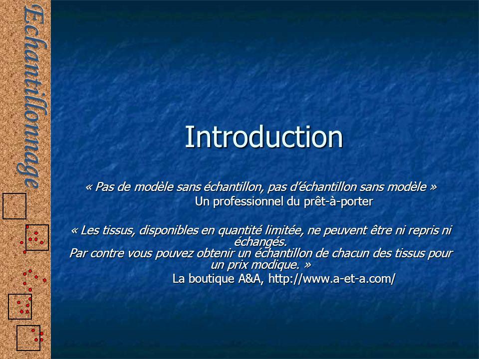 Introduction « Pas de modèle sans échantillon, pas déchantillon sans modèle » Un professionnel du prêt-à-porter « Les tissus, disponibles en quantité