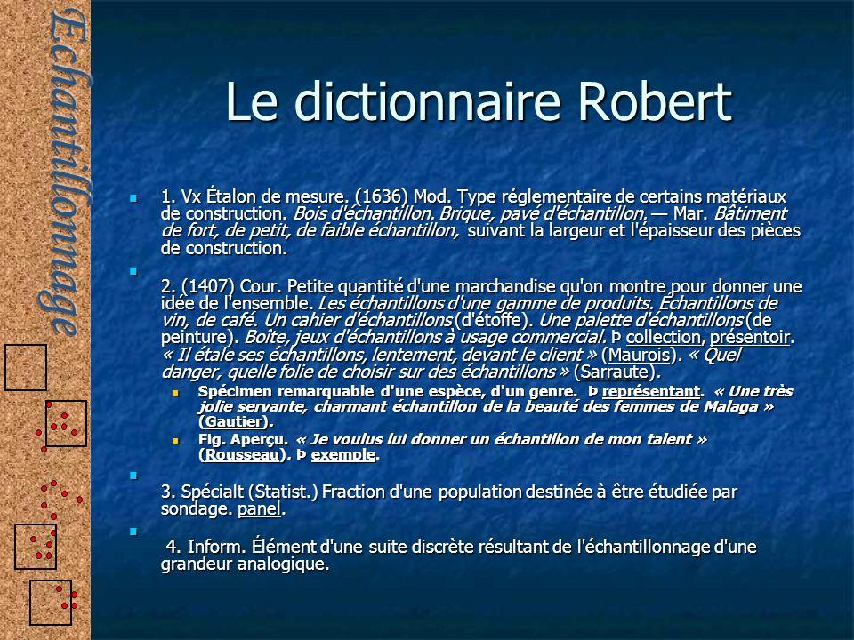 Le dictionnaire Robert 1. Vx Étalon de mesure. (1636) Mod. Type réglementaire de certains matériaux de construction. Bois d'échantillon. Brique, pavé