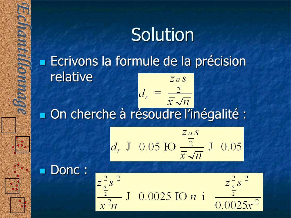 Solution Ecrivons la formule de la précision relative Ecrivons la formule de la précision relative On cherche à résoudre linégalité : On cherche à rés