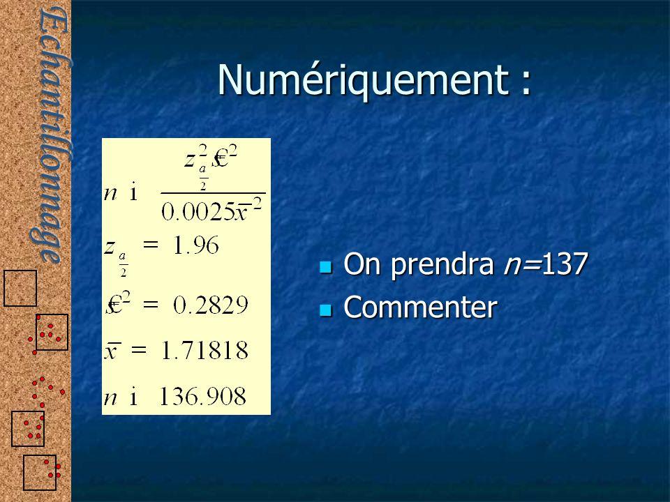 Numériquement : On prendra n=137 On prendra n=137 Commenter Commenter