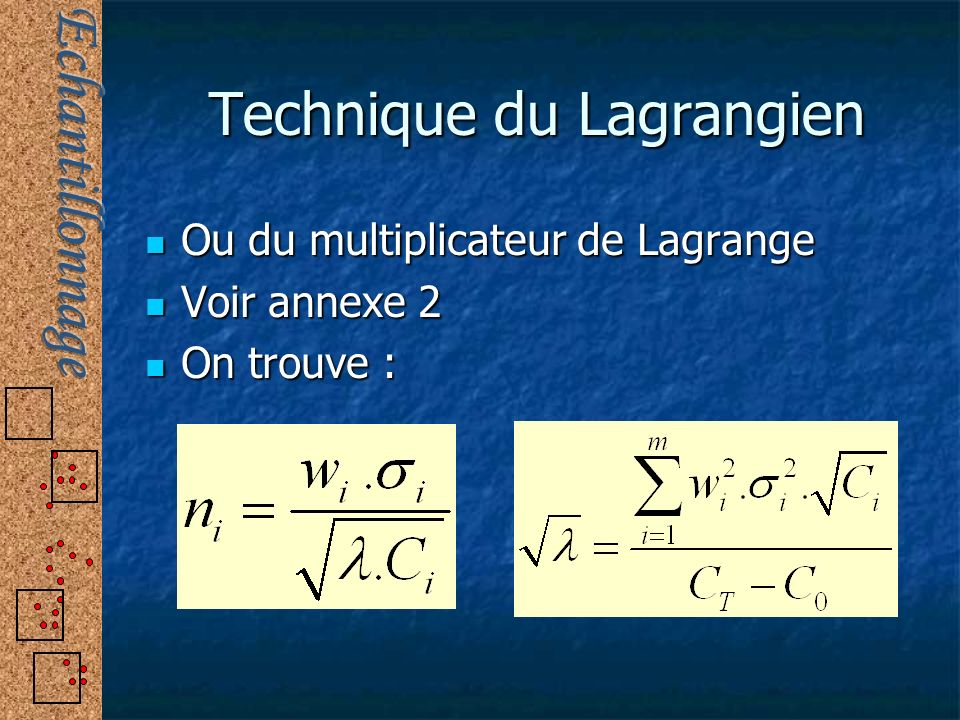 Technique du Lagrangien Ou du multiplicateur de Lagrange Ou du multiplicateur de Lagrange Voir annexe 2 Voir annexe 2 On trouve : On trouve :