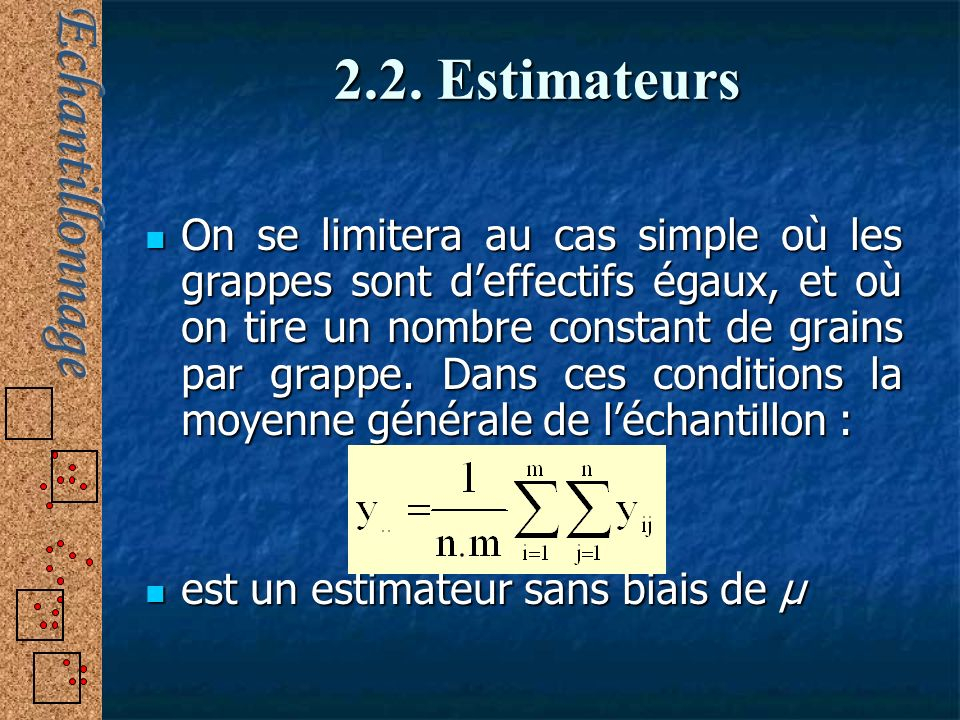 2.2. Estimateurs On se limitera au cas simple où les grappes sont deffectifs égaux, et où on tire un nombre constant de grains par grappe. Dans ces co
