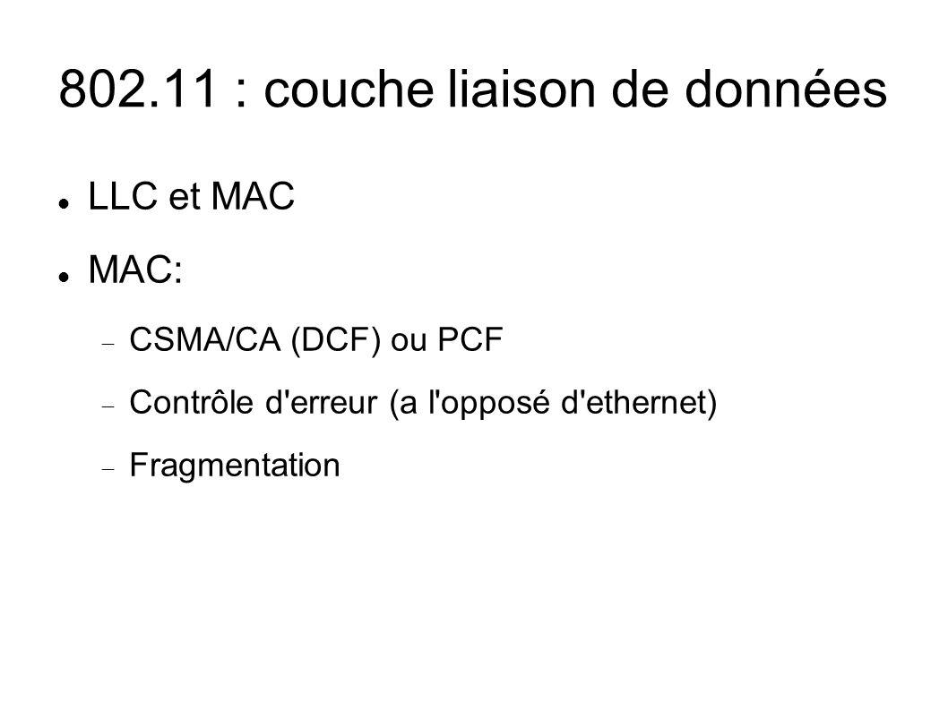 802.11 : couche liaison de données LLC et MAC MAC: CSMA/CA (DCF) ou PCF Contrôle d erreur (a l opposé d ethernet) Fragmentation