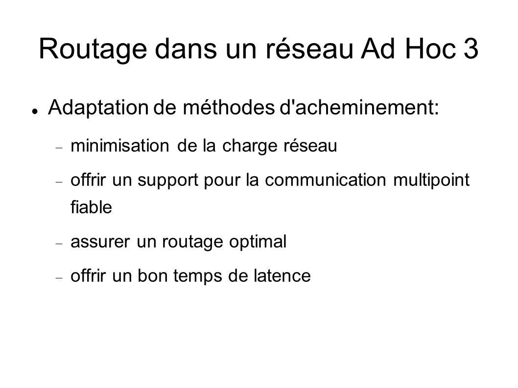 Routage dans un réseau Ad Hoc 3 Adaptation de méthodes d acheminement: minimisation de la charge réseau offrir un support pour la communication multipoint fiable assurer un routage optimal offrir un bon temps de latence