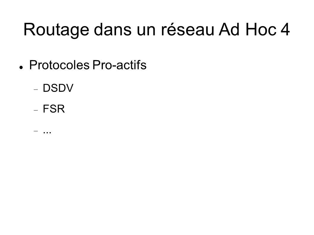 Routage dans un réseau Ad Hoc 4 Protocoles Pro-actifs DSDV FSR...