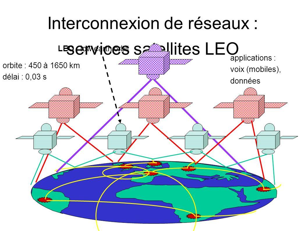 Interconnexion de réseaux : services satellites LEO LEO : low earth orbit orbite : 450 à 1650 km délai : 0,03 s applications : voix (mobiles), données