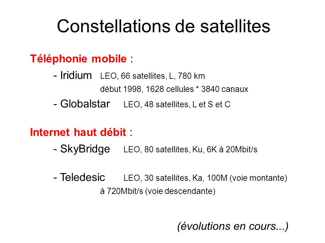 Constellations de satellites Téléphonie mobile : - Iridium LEO, 66 satellites, L, 780 km début 1998, 1628 cellules * 3840 canaux - Globalstar LEO, 48 satellites, L et S et C Internet haut débit : - SkyBridge LEO, 80 satellites, Ku, 6K à 20Mbit/s - Teledesic LEO, 30 satellites, Ka, 100M (voie montante) à 720Mbit/s (voie descendante) (évolutions en cours...)