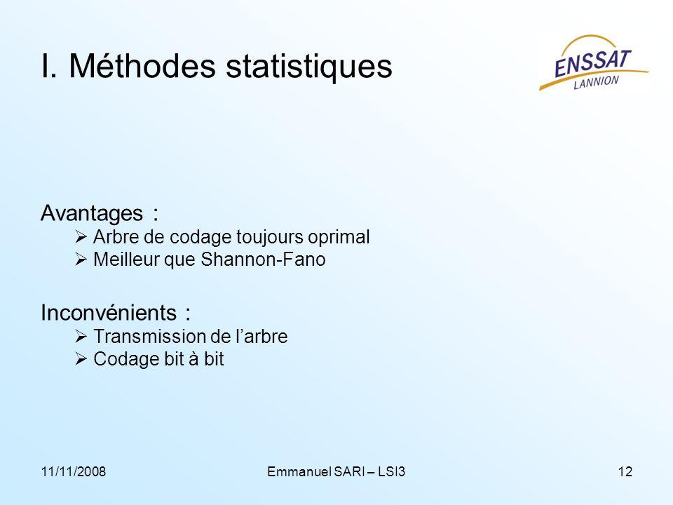 11/11/2008Emmanuel SARI – LSI312 I. Méthodes statistiques Avantages : Arbre de codage toujours oprimal Meilleur que Shannon-Fano Inconvénients : Trans