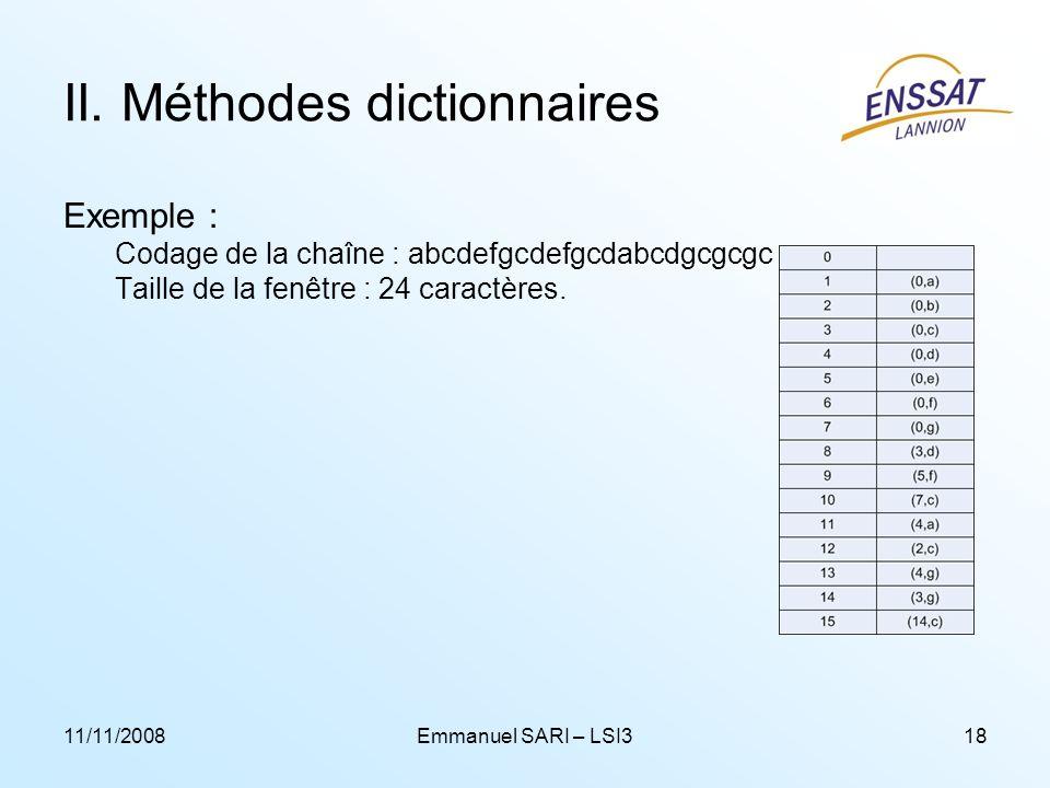 11/11/2008Emmanuel SARI – LSI318 II. Méthodes dictionnaires Exemple : Codage de la chaîne : abcdefgcdefgcdabcdgcgcgc Taille de la fenêtre : 24 caractè