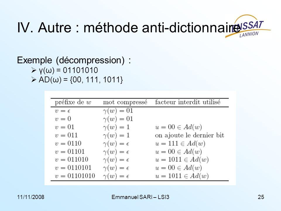 11/11/2008Emmanuel SARI – LSI325 IV. Autre : méthode anti-dictionnaire Exemple (décompression) : γ(ω) = 01101010 AD(ω) = {00, 111, 1011}