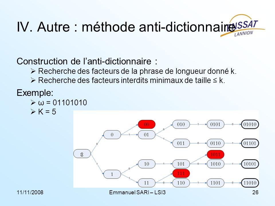 11/11/2008Emmanuel SARI – LSI326 IV. Autre : méthode anti-dictionnaire Construction de lanti-dictionnaire : Recherche des facteurs de la phrase de lon