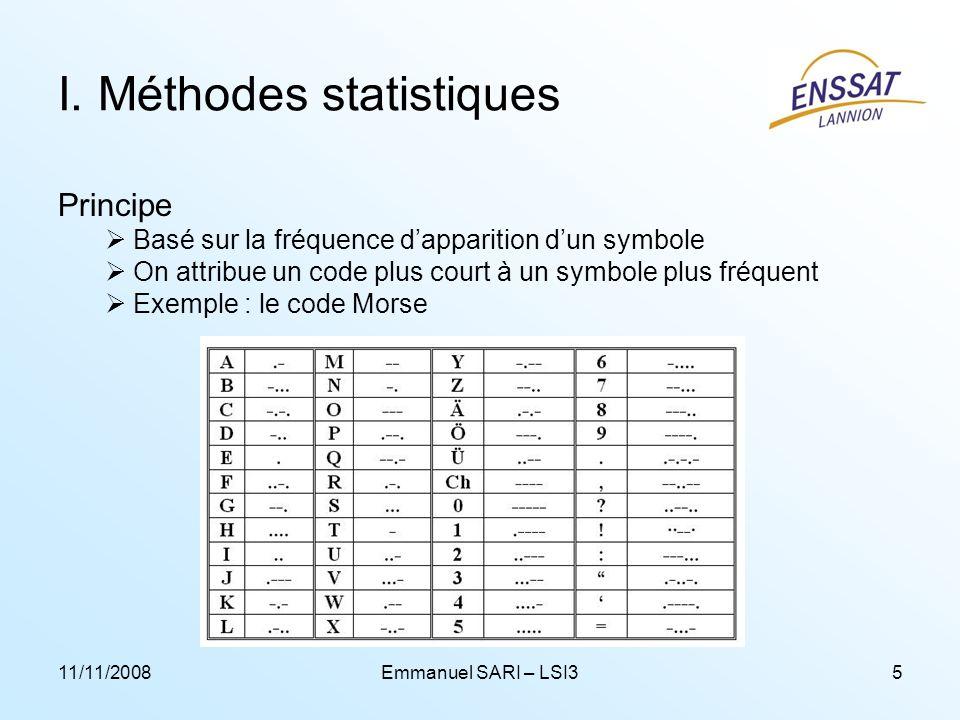11/11/2008Emmanuel SARI – LSI35 I. Méthodes statistiques Principe Basé sur la fréquence dapparition dun symbole On attribue un code plus court à un sy
