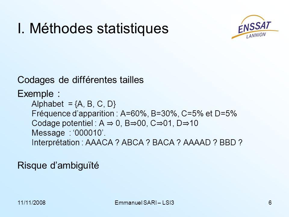 11/11/2008Emmanuel SARI – LSI36 I. Méthodes statistiques Codages de différentes tailles Exemple : Alphabet = {A, B, C, D} Fréquence dapparition : A=60