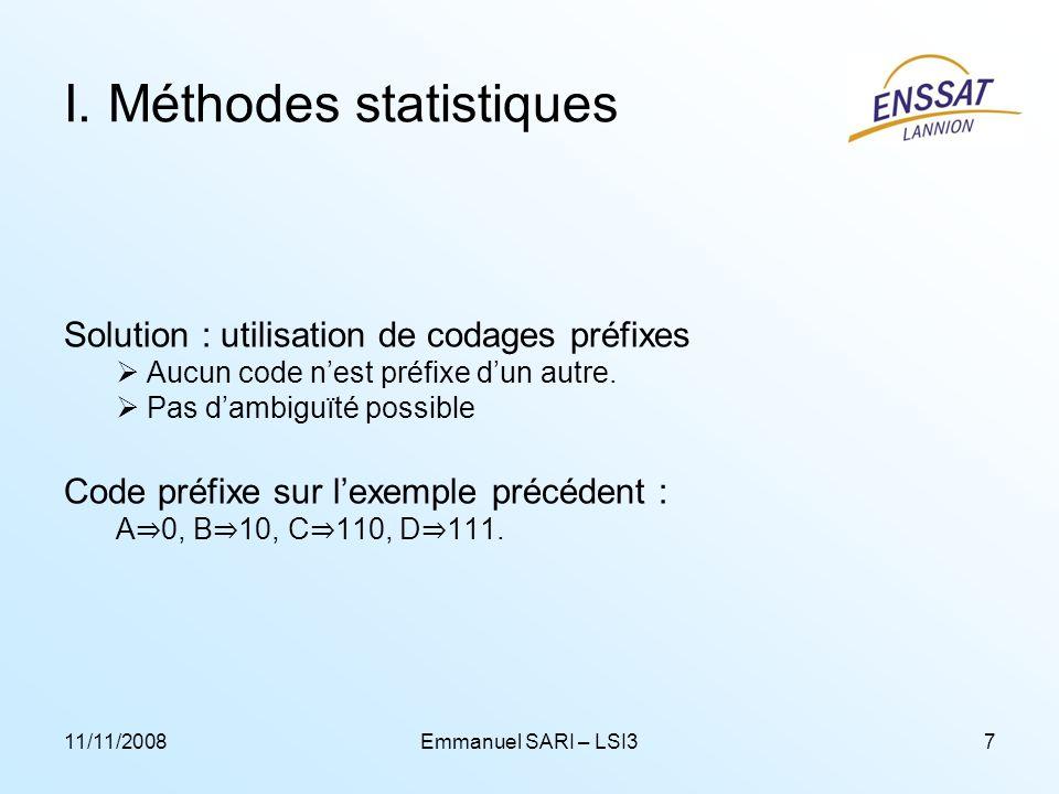 11/11/2008Emmanuel SARI – LSI37 I. Méthodes statistiques Solution : utilisation de codages préfixes Aucun code nest préfixe dun autre. Pas dambiguïté