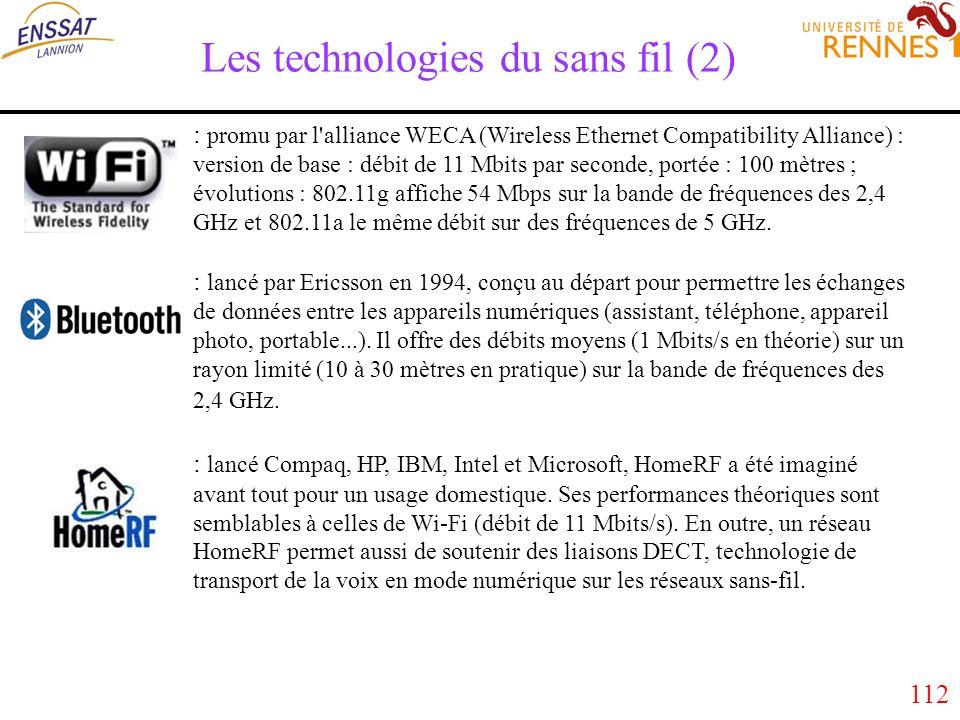 112 Les technologies du sans fil (2) : promu par l'alliance WECA (Wireless Ethernet Compatibility Alliance) : version de base : débit de 11 Mbits par