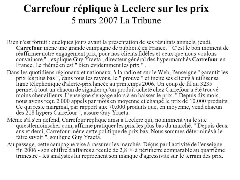 Carrefour réplique à Leclerc sur les prix 5 mars 2007 La Tribune Rien n'est fortuit : quelques jours avant la présentation de ses résultats annuels, j