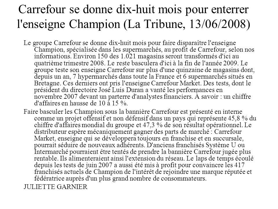 Carrefour se donne dix-huit mois pour enterrer l'enseigne Champion (La Tribune, 13/06/2008) Le groupe Carrefour se donne dix-huit mois pour faire disp