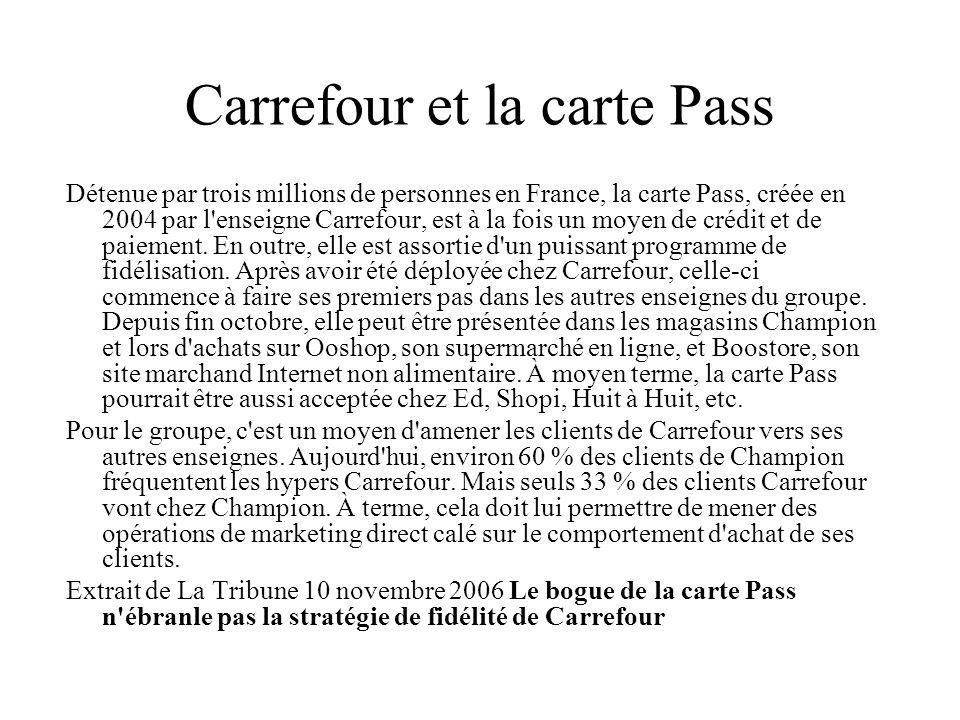 Carrefour et la carte Pass Détenue par trois millions de personnes en France, la carte Pass, créée en 2004 par l'enseigne Carrefour, est à la fois un