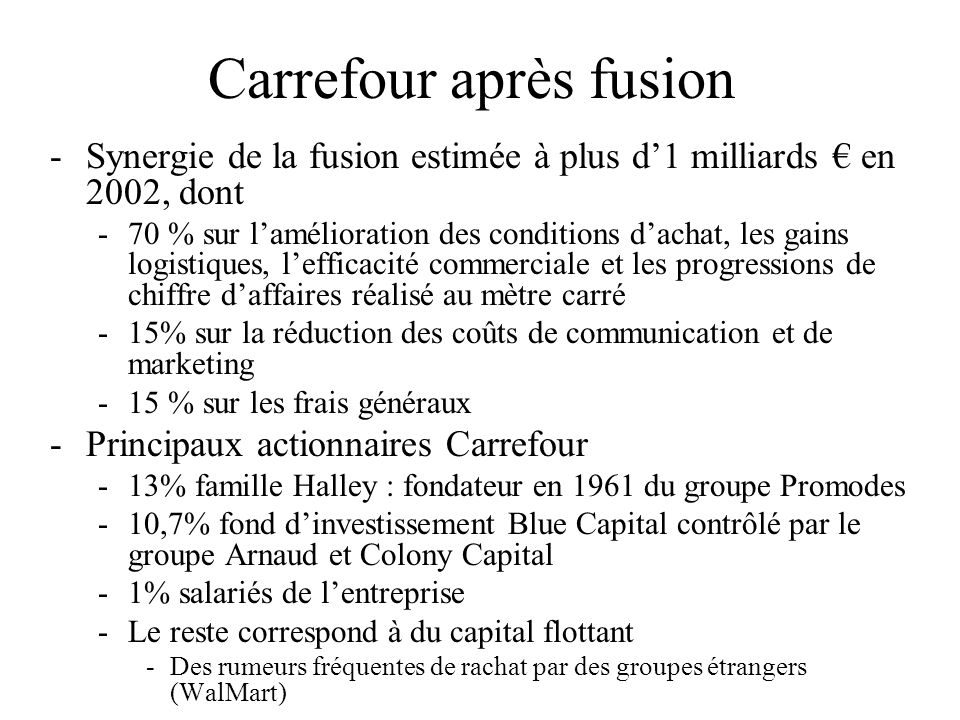 Carrefour après fusion -Synergie de la fusion estimée à plus d1 milliards en 2002, dont -70 % sur lamélioration des conditions dachat, les gains logis