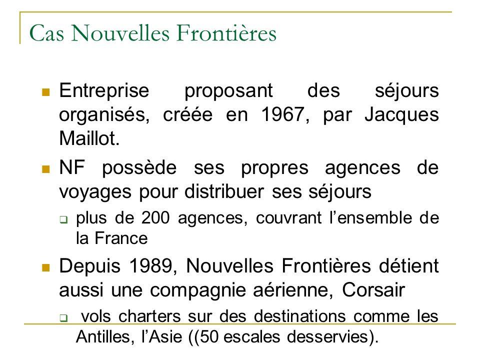 Cas Nouvelles Frontières Entreprise proposant des séjours organisés, créée en 1967, par Jacques Maillot. NF possède ses propres agences de voyages pou