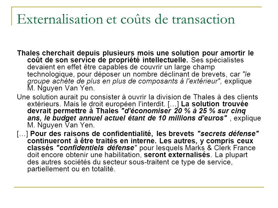 Externalisation et coûts de transaction Thales cherchait depuis plusieurs mois une solution pour amortir le coût de son service de propriété intellect