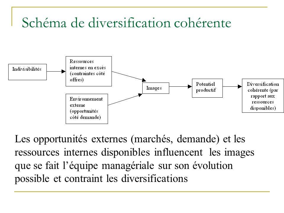 Schéma de diversification cohérente Les opportunités externes (marchés, demande) et les ressources internes disponibles influencent les images que se