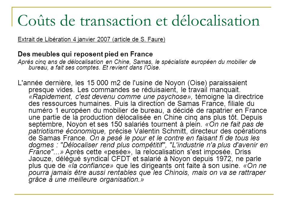 Coûts de transaction et délocalisation Extrait de Libération 4 janvier 2007 (article de S. Faure) Des meubles qui reposent pied en France Après cinq a
