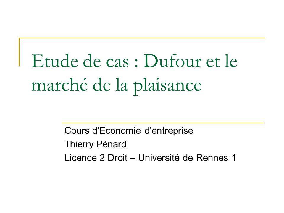 Etude de cas : Dufour et le marché de la plaisance Cours dEconomie dentreprise Thierry Pénard Licence 2 Droit – Université de Rennes 1