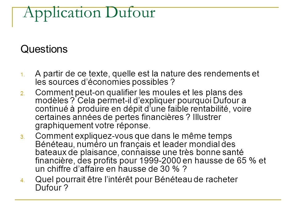 Application Dufour Questions 1.