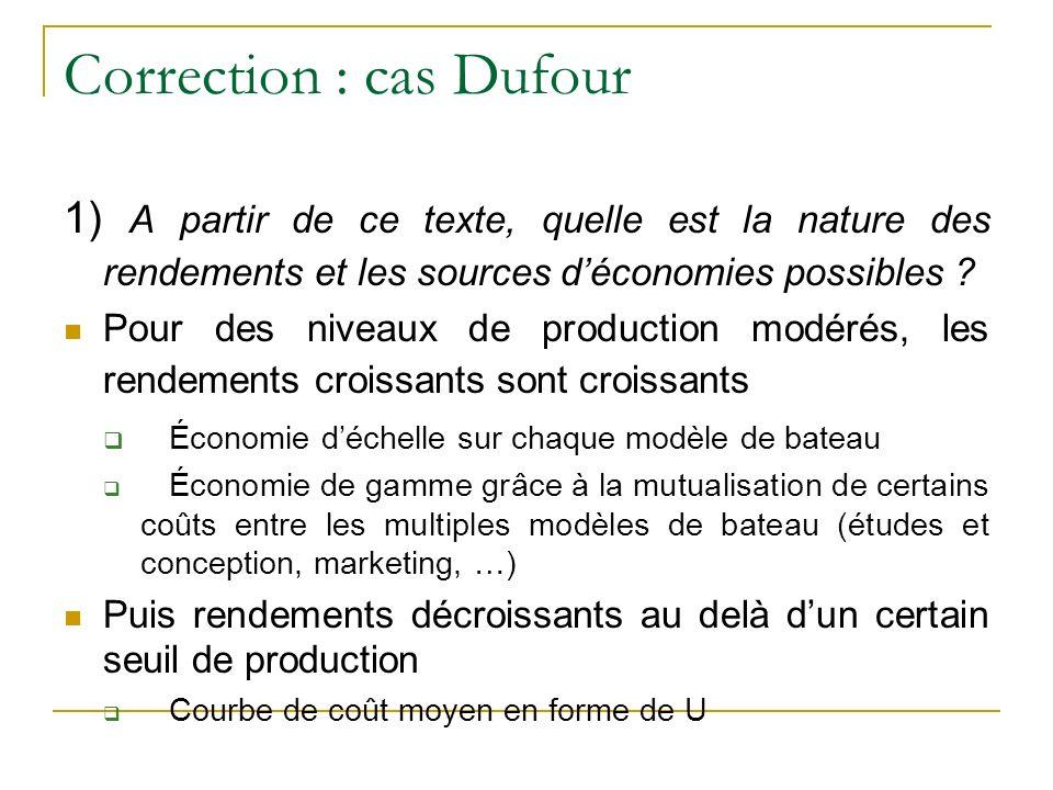 Correction : cas Dufour 1) A partir de ce texte, quelle est la nature des rendements et les sources déconomies possibles .