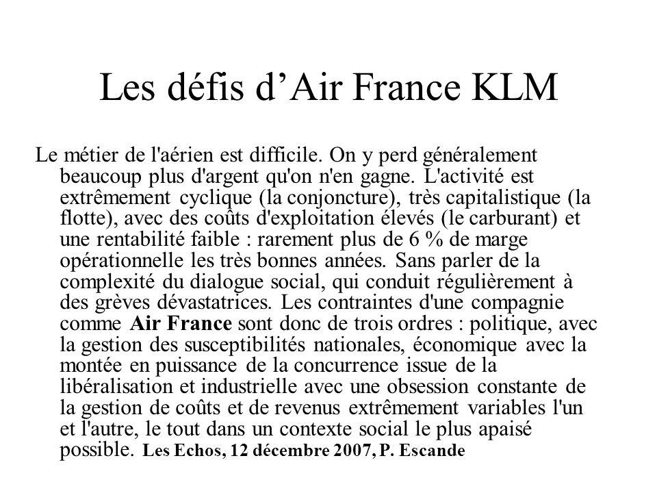 Les défis dAir France KLM Le métier de l'aérien est difficile. On y perd généralement beaucoup plus d'argent qu'on n'en gagne. L'activité est extrêmem