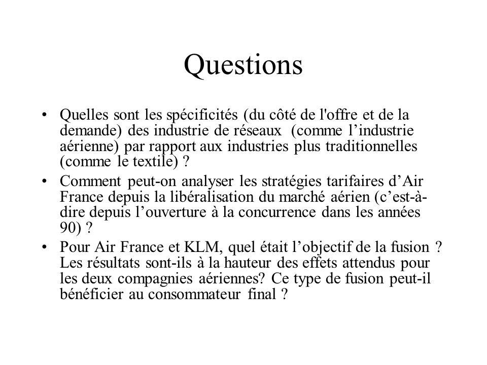 Questions Quelles sont les spécificités (du côté de l'offre et de la demande) des industrie de réseaux (comme lindustrie aérienne) par rapport aux ind