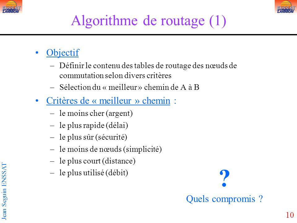 10 Jean Seguin ENSSAT Algorithme de routage (1) Objectif –Définir le contenu des tables de routage des nœuds de commutation selon divers critères –Sél