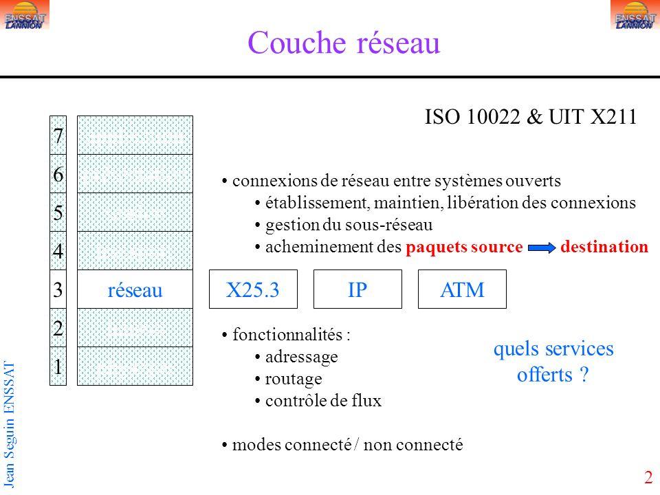 2 Jean Seguin ENSSAT Couche réseau application présentation session transport réseau liaison physique 7 6 5 4 3 2 1 ISO 10022 & UIT X211 X25.3IP conne