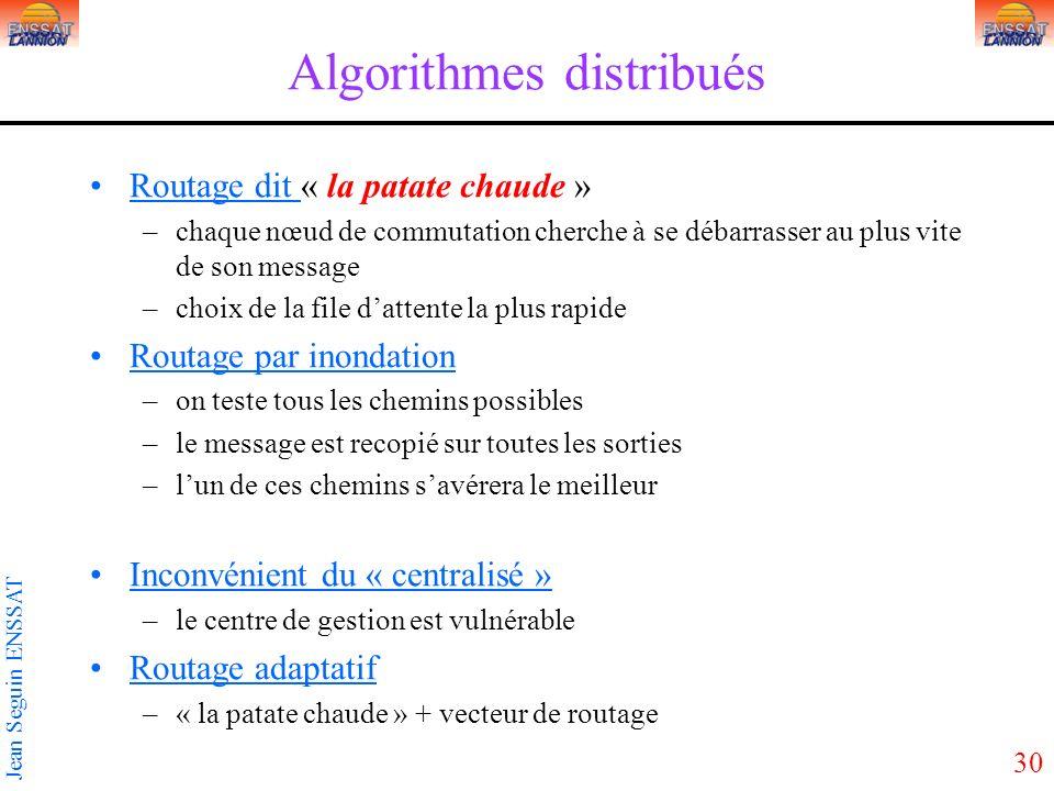 30 Jean Seguin ENSSAT Algorithmes distribués Routage dit « la patate chaude » –chaque nœud de commutation cherche à se débarrasser au plus vite de son