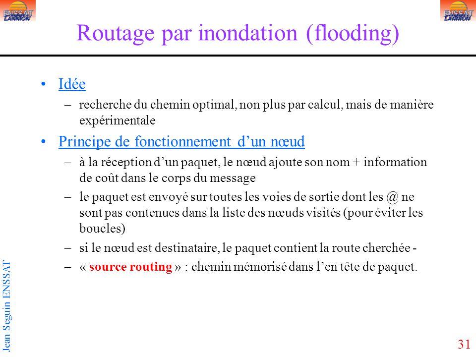 31 Jean Seguin ENSSAT Routage par inondation (flooding) Idée –recherche du chemin optimal, non plus par calcul, mais de manière expérimentale Principe