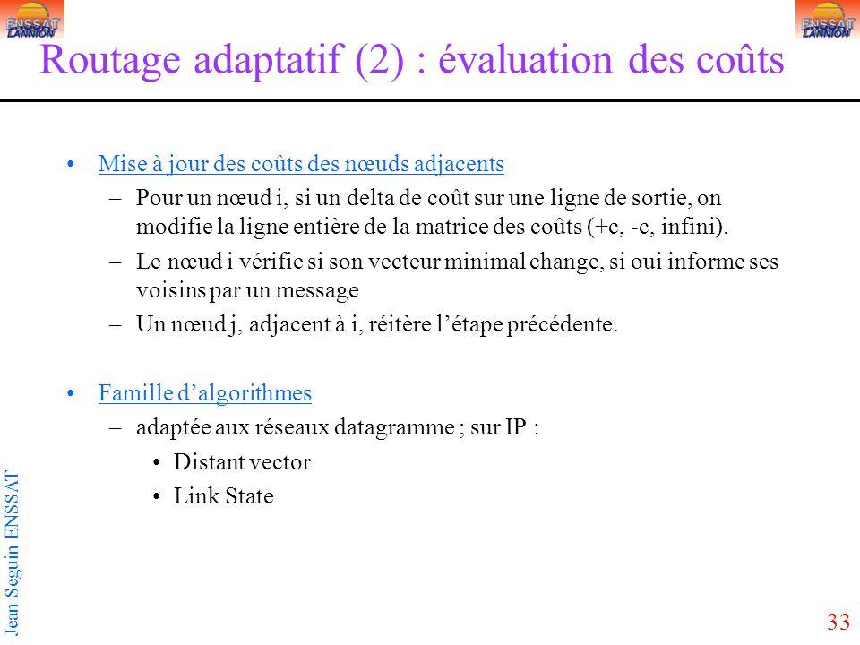 33 Jean Seguin ENSSAT Routage adaptatif (2) : évaluation des coûts Mise à jour des coûts des nœuds adjacents –Pour un nœud i, si un delta de coût sur une ligne de sortie, on modifie la ligne entière de la matrice des coûts (+c, -c, infini).