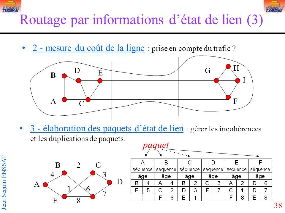 38 Jean Seguin ENSSAT Routage par informations détat de lien (3) 2 - mesure du coût de la ligne : prise en compte du trafic ? D C A B E G F H I 3 - él