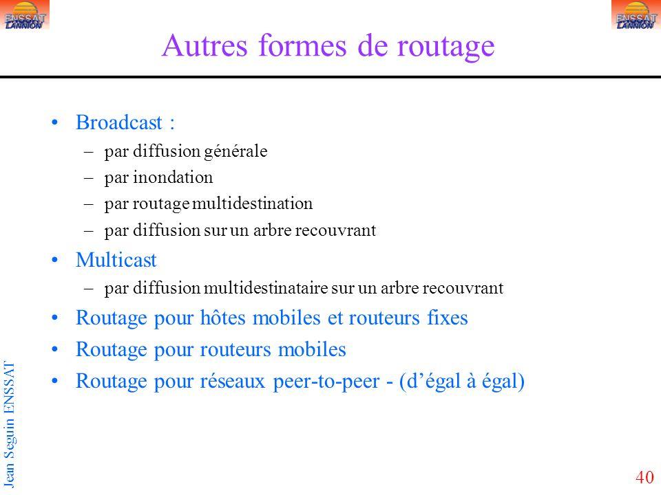 40 Jean Seguin ENSSAT Autres formes de routage Broadcast : –par diffusion générale –par inondation –par routage multidestination –par diffusion sur un