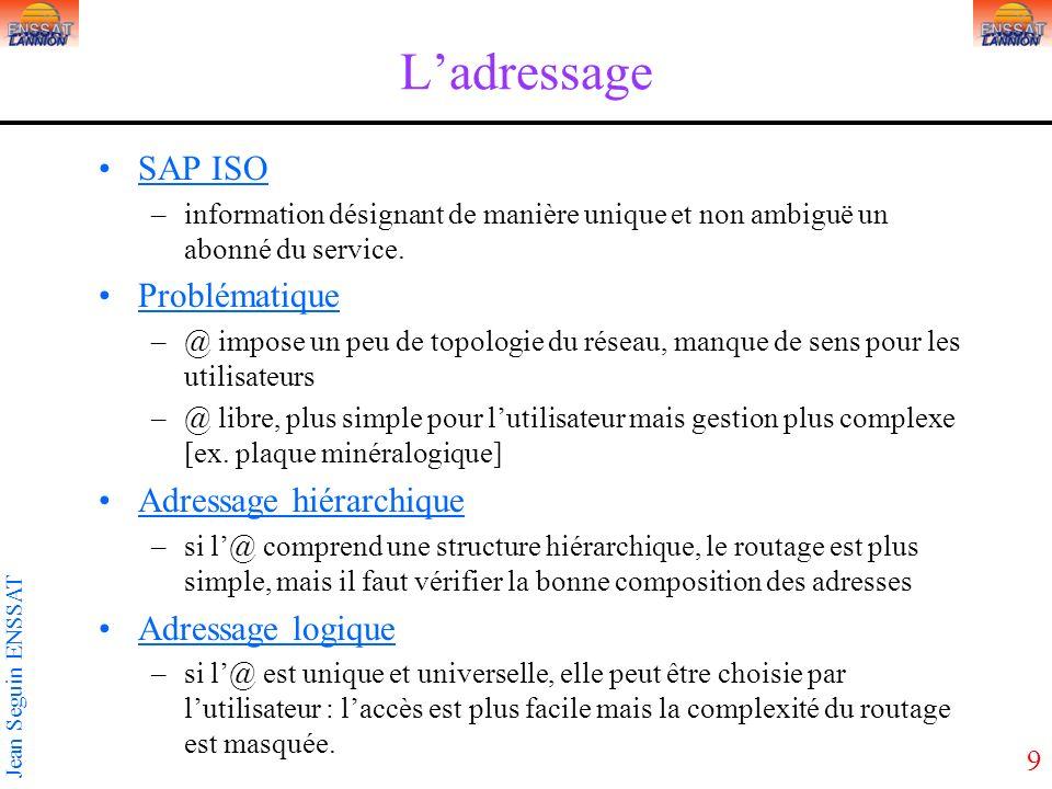 9 Jean Seguin ENSSAT Ladressage SAP ISO –information désignant de manière unique et non ambiguë un abonné du service. Problématique –@ impose un peu d