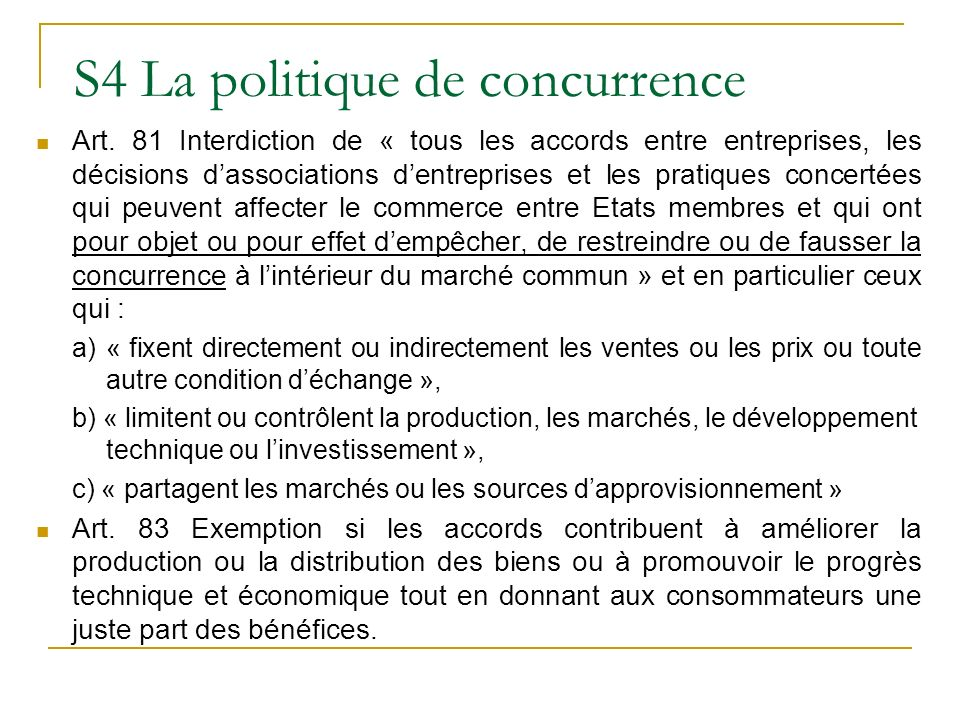 S4 La politique de concurrence Art.